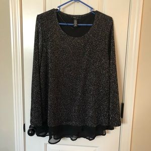 Style & co layered long sleeve sweater w/ sparkle